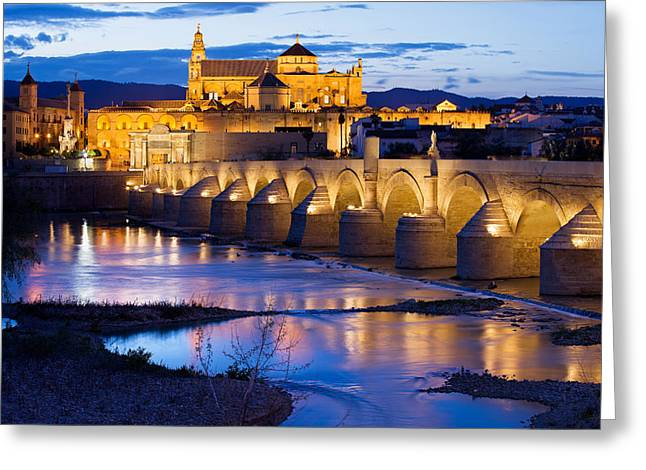 Cordoba Greeting Cards - Mezquita and Roman Bridge in Cordoba Greeting Card by Artur Bogacki