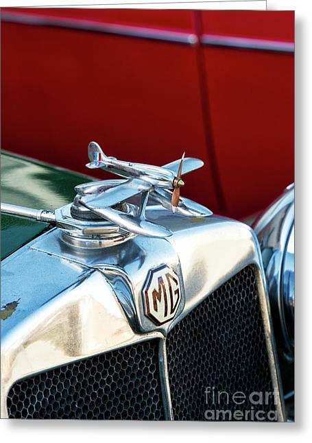 Mg Airplane Hood Ornament  Greeting Card by Tim Gainey