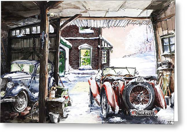 Mg Tc And A Ford 8 Y Model Out In The Barn Greeting Card