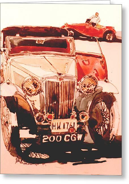 Mg's--cars At Rally Greeting Card by Linda Crockett