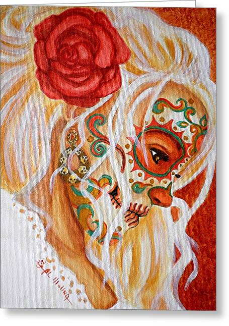 Day Of The Dead Greeting Cards - Mi Mente me lleva de nuevo a Usted  Greeting Card by Al  Molina