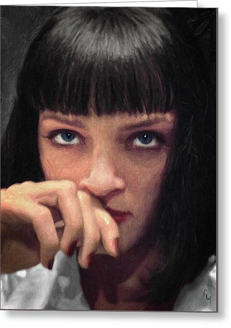 Mia Wallace - Pulp Fiction Greeting Card by Taylan Apukovska