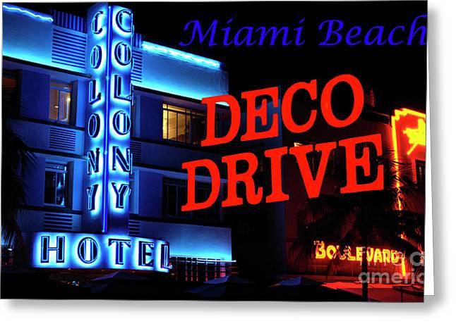 Miami Beach Art Deco Drive Greeting Card by Bob Christopher