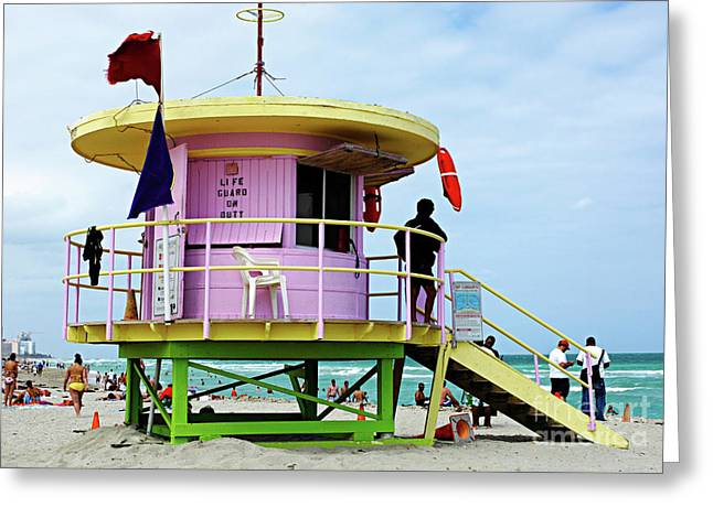 Miami Beach Life Guard Stand 2 Greeting Card by Bob Christopher