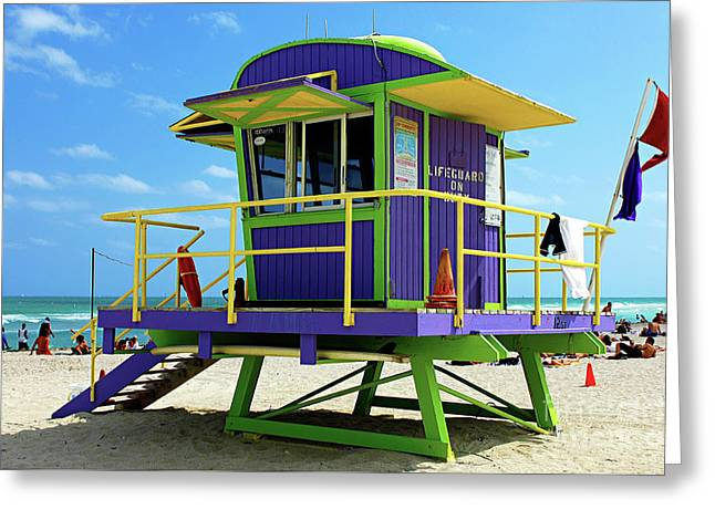 Miami Beach Life Guard Stand Greeting Card by Bob Christopher