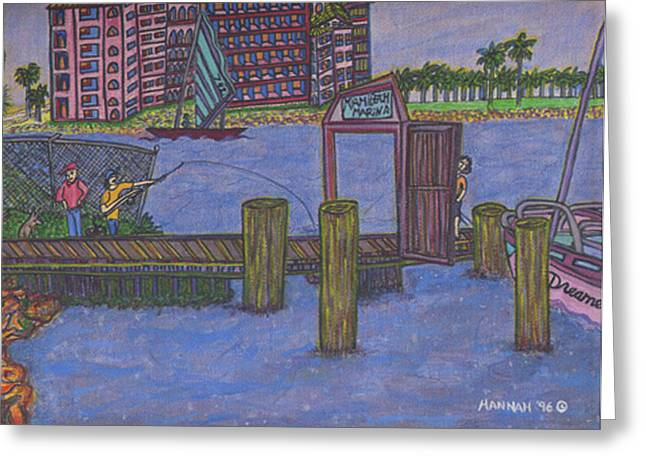 Fischer Boat Greeting Cards - Miami Beach Marina Greeting Card by Hannah Lasky