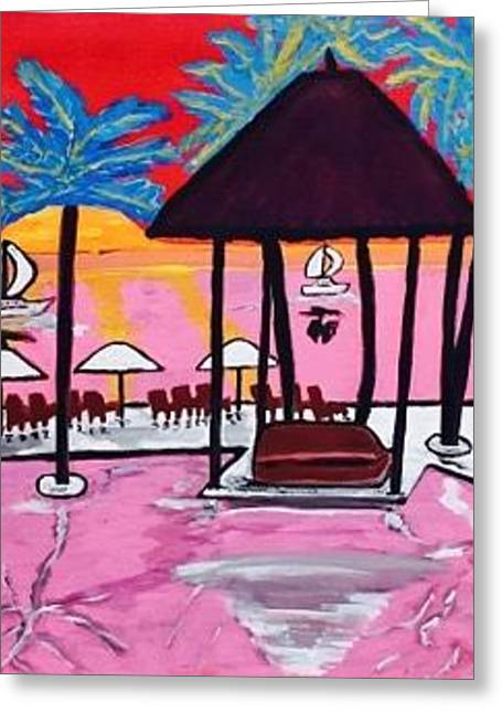 Miami Beach Painting. Original  Greeting Card