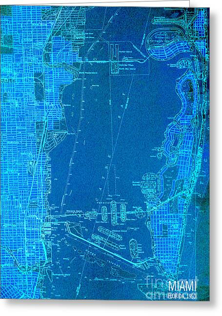Miami Blue Old Vintage Map Greeting Card