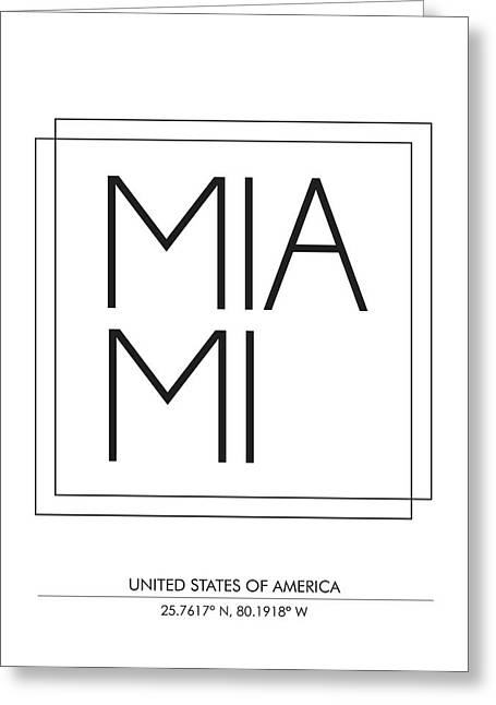 Miami City Print With Coordinates Greeting Card