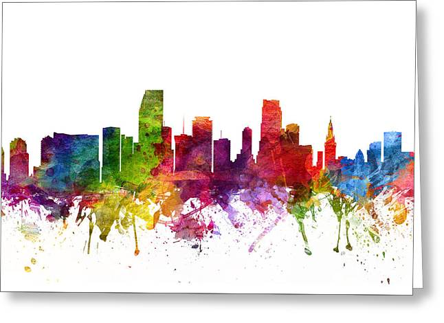 Miami Skyline Greeting Cards - Miami Cityscape 06 Greeting Card by Aged Pixel
