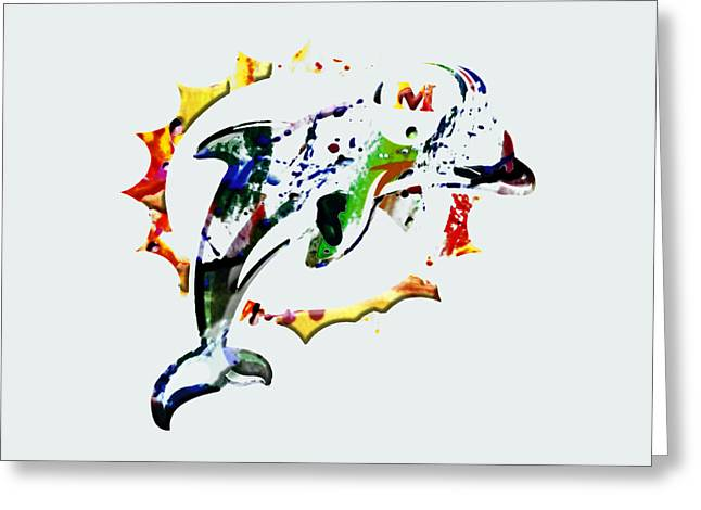 Miami Dolphins 3c Greeting Card by Brian Reaves