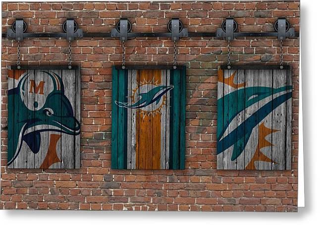 Miami Dolphins Brick Wall Greeting Card