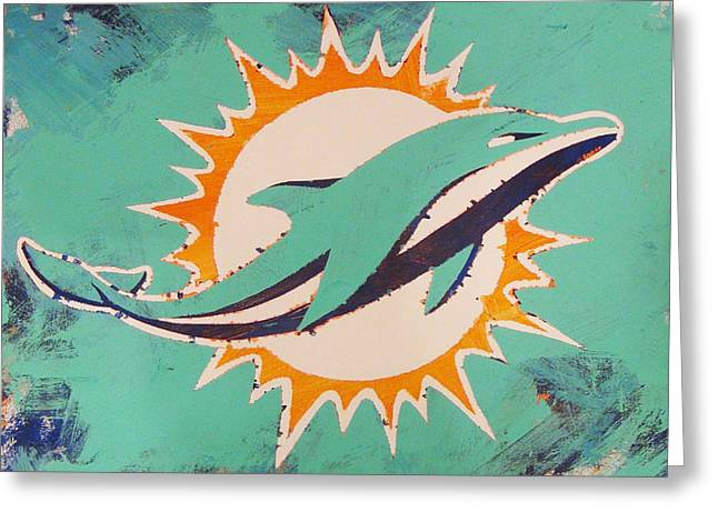 Greeting Card featuring the painting Miami Dolphins by Candace Shrope