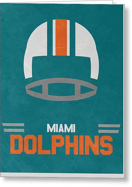Miami Dolphins Vintage Art Greeting Card by Joe Hamilton