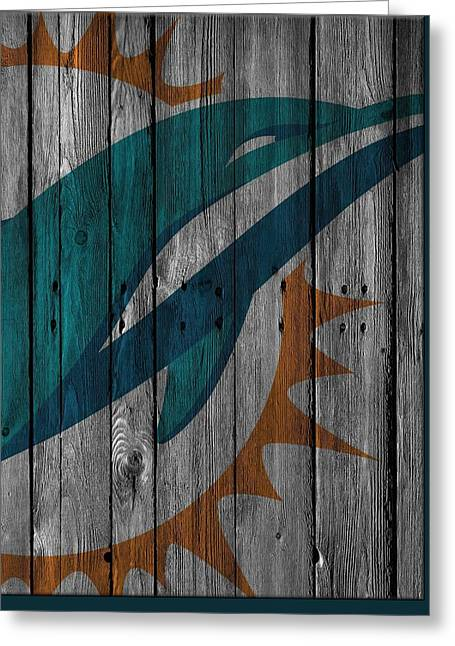 Miami Dolphins Wood Fence Greeting Card by Joe Hamilton