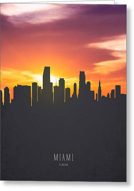 Miami Florida Sunset Skyline 01 Greeting Card