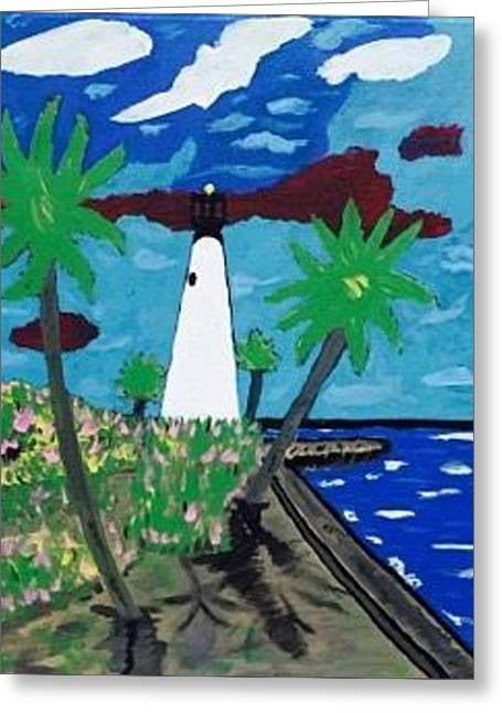 Miami Florida Original Acrylic Painting On Canvas Greeting Card