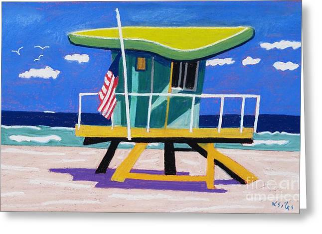 Miami Lime Green Hut Greeting Card by Lesley Giles