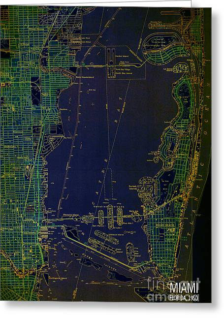 Miami Map 1950 Blue And Green Greeting Card by Pablo Franchi