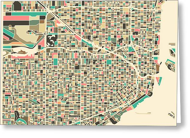 Miami Map Greeting Card