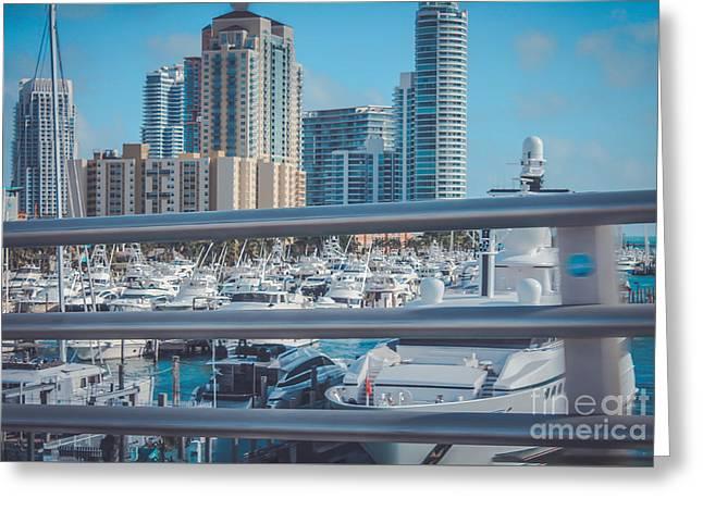 Miami Marina Greeting Card by Claudia M Photography