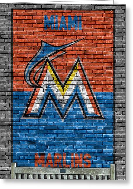 Miami Marlins Brick Wall Greeting Card by Joe Hamilton