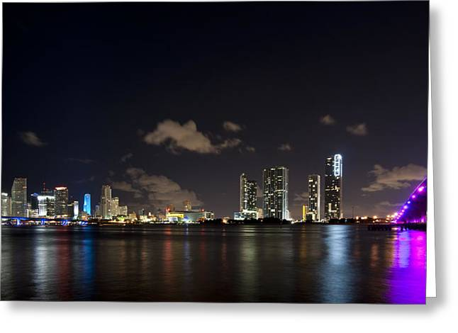 Miami Night Lights Greeting Card by Tom Dowd