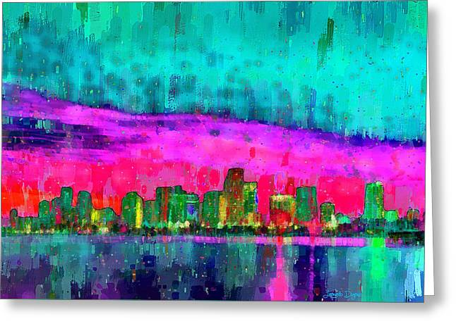 Miami Skyline 103 - Pa Greeting Card by Leonardo Digenio