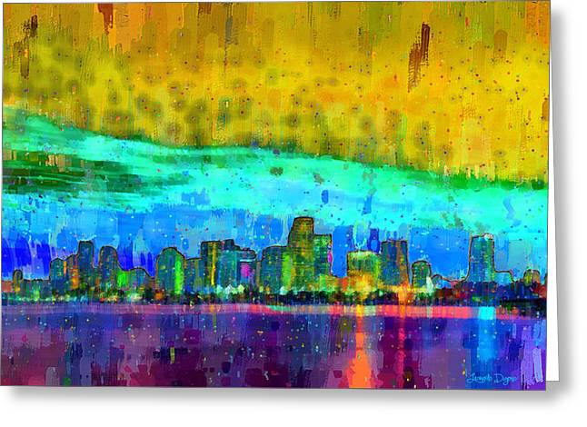 Miami Skyline 107 - Da Greeting Card by Leonardo Digenio