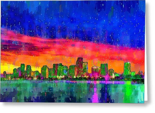 Miami Skyline 115 - Pa Greeting Card by Leonardo Digenio