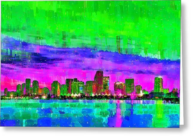 Miami Skyline 144 - Da Greeting Card by Leonardo Digenio
