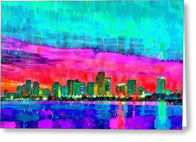 Miami Skyline 145 - Da Greeting Card by Leonardo Digenio