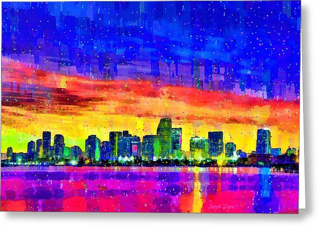 Miami Skyline 146 - Pa Greeting Card