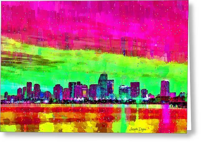 Miami Skyline 147 - Pa Greeting Card by Leonardo Digenio