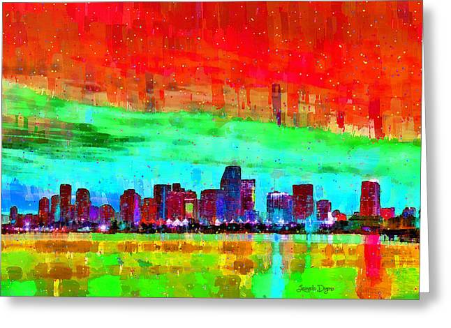 Miami Skyline 148 - Da Greeting Card by Leonardo Digenio