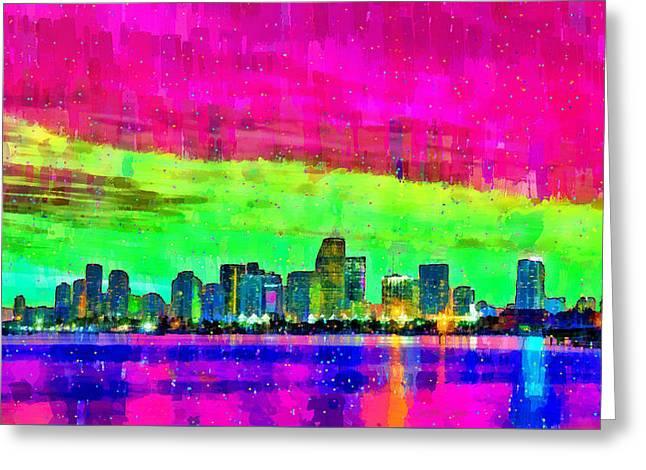 Miami Skyline 151 - Pa Greeting Card by Leonardo Digenio