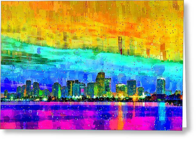 Miami Skyline 152 - Da Greeting Card by Leonardo Digenio