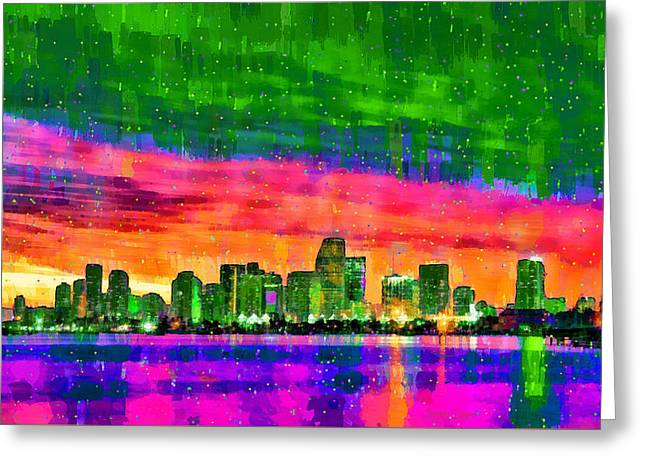 Miami Skyline 156 - Da Greeting Card by Leonardo Digenio