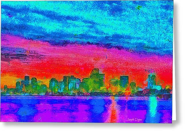Miami Skyline 161 - Da Greeting Card by Leonardo Digenio