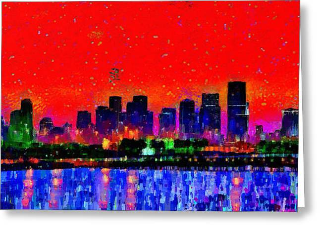 Miami Skyline 20 - Pa Greeting Card