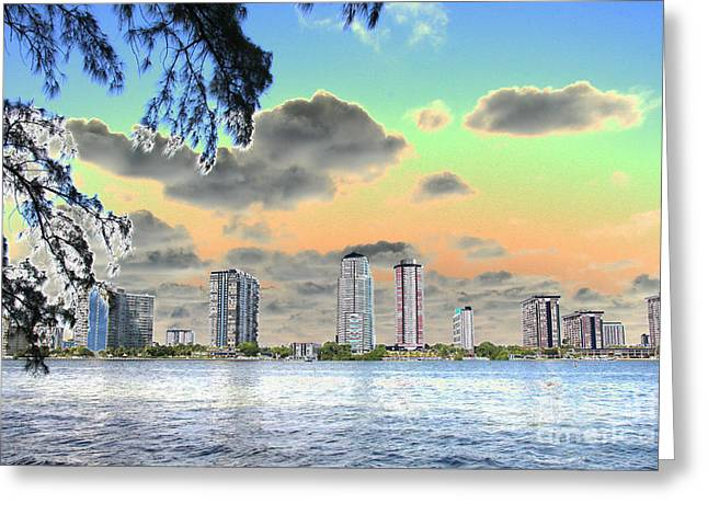 Miami Skyline Abstract Greeting Card