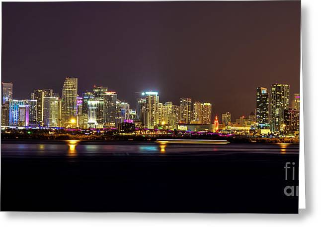 Miami Skyline At Dusk Greeting Card