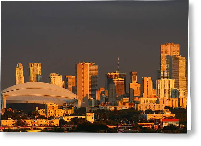 Miami Skyline At Sunset Greeting Card by Christiane Schulze Art And Photography
