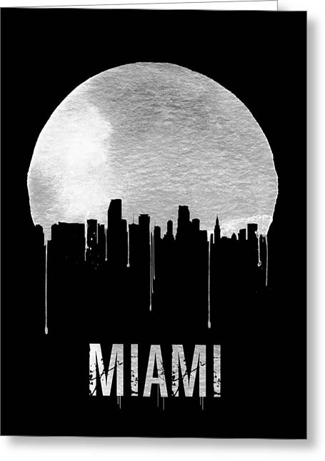 Miami Skyline Black Greeting Card