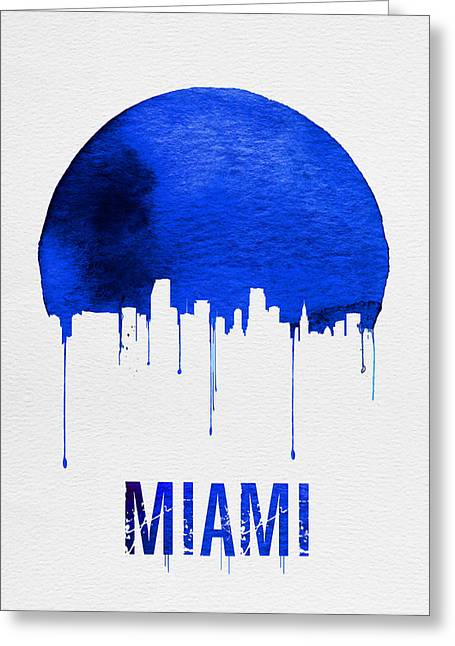 Miami Skyline Blue Greeting Card