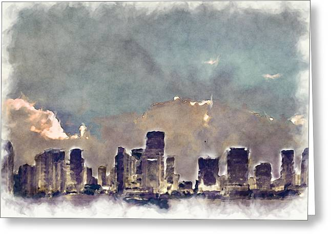 Miami Skyline I I Greeting Card by Paulette B Wright