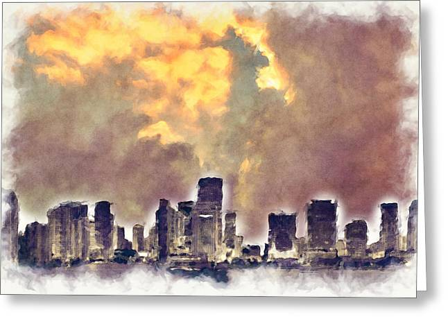Miami Skyline I Greeting Card by Paulette B Wright