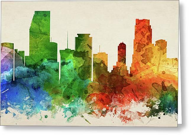 Miami Skyline Panorama Usflmi-pa03 Greeting Card