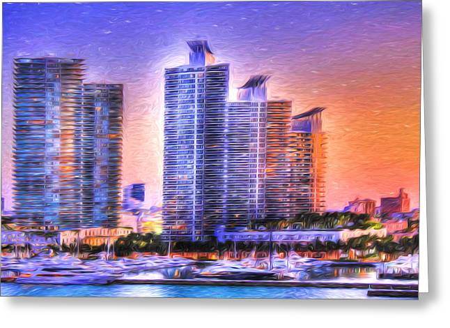 Greeting Card featuring the photograph Miami Skyline Sunrise by Shelley Neff