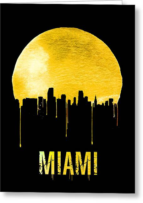 Miami Skyline Yellow Greeting Card